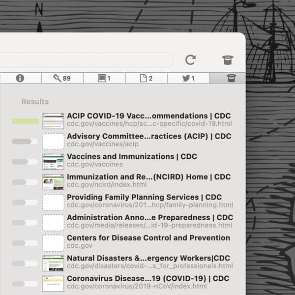 Bildschirmfoto, welches den Siehe-auch-Inspektor von DEVONagent Pro zeigt.