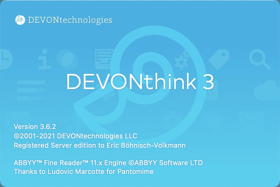 Ein Bildschirmfoto des Startbildschirms von DEVONthink.