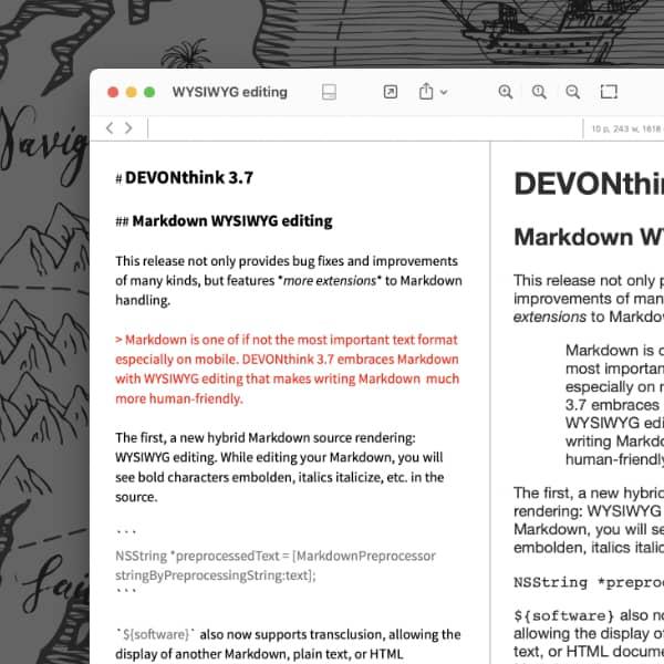 Ein Markdown-Dokument in Bearbeitung mit WYSIWYG.