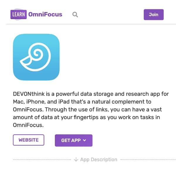 Screenshot of the Learn OmniFocus website.