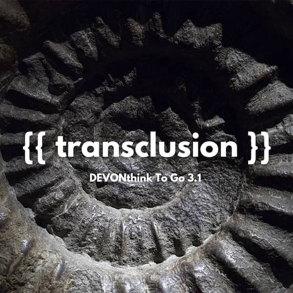 Instagram post picture showing an ammonite background and the word transclusion.