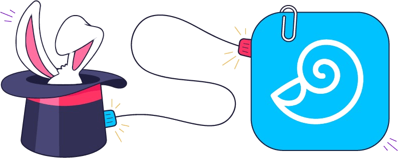 Trickster and DEVONthink icons connected with a cable.