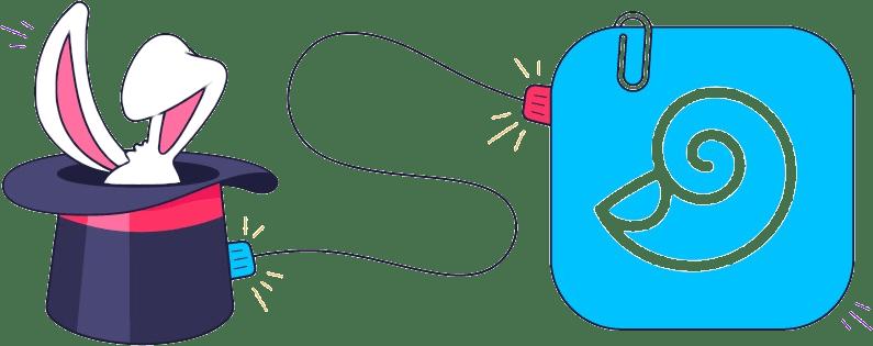 Programmsymbole von Trickster und DEVONthink mit einem Kabel verbunden.