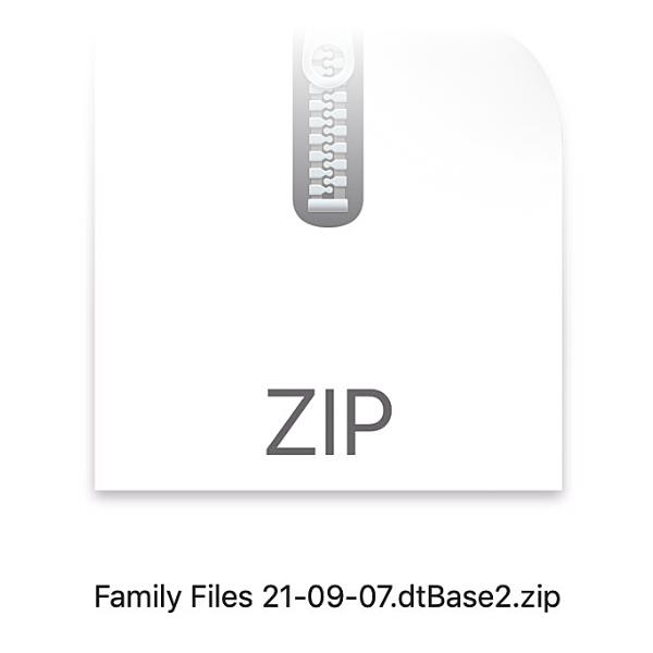 ZIP-Datei einer Datenbank.